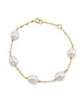 7.0-7.5mm Drop-Shape White Freshwater Pearl Tincup Emily Bracelet - Model Image