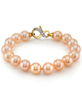 10-11mm Peach Freshwater Pearl Bracelet - AAAA Quality - Third Image