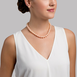 9.5-10.5mm Peach Freshwater Pearl Necklace - AAAA Quality - Model Image