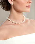 10-11mm White Freshwater Pearl Necklace- AAAA Quality - Model Image