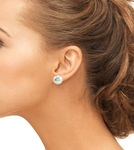 11mm White Freshwater Pearl Stud Earrings - Secondary Image