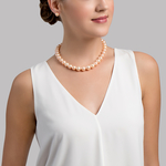 12-13mm Peach Freshwater Pearl Necklace - Model Image