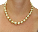 12-14mm Golden South Sea Pearl Necklace - AAA Quality - Model Image