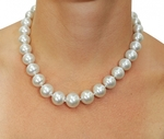 12-15mm White South Sea Pearl Necklace - VENUS CERTIFIED AAAA Quality - Model Image