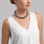 13-16mm Black Tahitian South Sea Pearl Necklace - AAAA Quality - Model Image