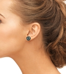 13mm Tahitian South Sea Pearl Stud Earrings- Various Colors - Model Image