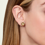 Golden South Sea Pearl & Diamond Amour Earrings - Model Image