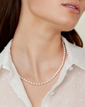 5.0-5.5mm Japanese Akoya White Pearl Necklace - AAA Quality - Model Image