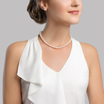 6.5-7.0mm Japanese Akoya White Choker Length Pearl Necklace- AAA Quality - Model Image