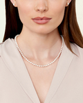 6.0- 6.5mm Japanese Akoya White Pearl Necklace- AAA Quality - Model Image