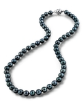 6.5-7.0mm Japanese Akoya Black Choker Length Pearl Necklace- AA+ Quality