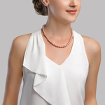 7-8mm Pink Freshwater Choker Length Pearl Necklace & Earrings - Model Image