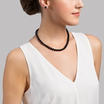 7.0-7.5mm Japanese Akoya Black Pearl Necklace- AAA Quality - Model Image