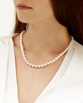 7.0-7.5mm Japanese Akoya White Choker Length Pearl Necklace- AAA Quality - Model Image