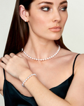 Japanese Akoya White Pearl Sets in AAA Quality - Model Image