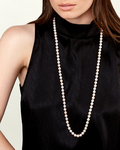 8-9mm Opera Length Freshwater Pearl Necklace - Model Image