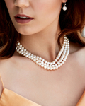 Triple Strand White Freshwater Pearl Necklace - Model Image