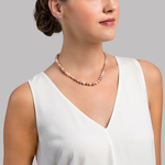 7-8mm Freshwater Multicolor Pearl Necklace - Model Image