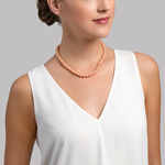 7.0-7.5mm Peach Freshwater Pearl Necklace - AAAA Quality - Model Image