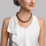 8-10mm Tahitian Round South Sea Pearl Necklace - AAA Quality - Model Image