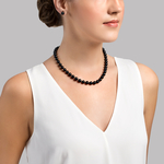 8.5-9.0mm Japanese Akoya Black Pearl Necklace-AAA Quality - Secondary Image