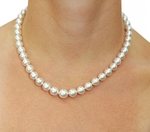 8-10mm White South Sea Pearl Necklace - AAA Quality - Model Image