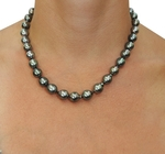 8-10mm Dark Tahitian South Sea Baroque Pearl Necklace - Secondary Image