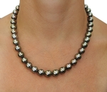 8-10mm Peacock Tahitian South Sea Pearl Necklace - AAAA Quality - Model Image