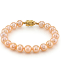 9-10mm Peach Freshwater Pearl Bracelet - AAAA Quality - Secondary Image