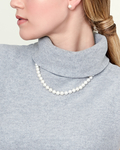 8-9mm White Freshwater Choker Length Pearl Necklace - Model Image