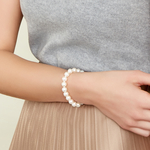 8-9mm White Freshwater Pearl Bracelet - AAAA Quality - Model Image