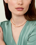 8-9mm Peach Freshwater Pearl Necklace - Model Image