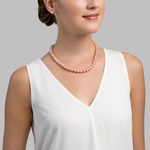 8-9mm Peach Freshwater Pearl Necklace - AAAA Quality - Secondary Image