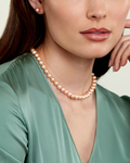 8-9mm Peach Freshwater Pearl Necklace - AAAA Quality - Model Image