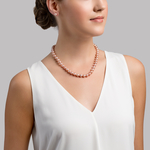 8-9mm Pink Freshwater Pearl Necklace - AAAA Quality - Model Image