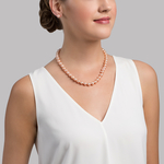 9-10mm Peach Freshwater Pearl Necklace - AAAA Quality - Secondary Image