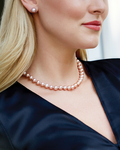 9-10mm Peach Freshwater Pearl Necklace - AAAA Quality - Model Image