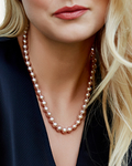 8.5-9.5mm Pink Freshwater Pearl Necklace - AAA Quality - Model Image