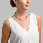 8.5-9.5mm Pink Freshwater Pearl Necklace - AAA Quality - Secondary Image
