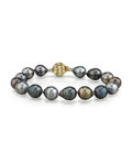 9-10mm Tahitian South Sea Multicolor Baroque Pearl Bracelet - AAA Quality - Model Image