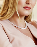 9.5-10mm Japanese Akoya White Pearl Necklace- AAA Quality - Model Image