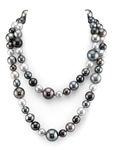 Opera Length 9.5-15mm Tahitian Multicolor South Sea Pearl Necklace
