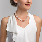9-10mm White Freshwater Pearl Double Strand Necklace - Model Image