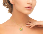 Golden Pearl & Diamond Braided Pendant - Model Image