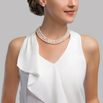 Triple Strand White Freshwater Pearl Necklace - Secondary Image