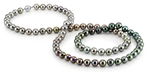 9-10mm  Color Graduated Tahitian South Sea Pearl Necklace - AAAA Quality - Model Image