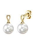 White South Sea Pearl Sherry Earrings - Model Image