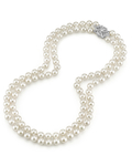 Japanese Akoya White Pearl Double Strand Necklace