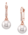 Japanese Akoya Pearl & Diamond Susan Earrings in White Gold - Third Image