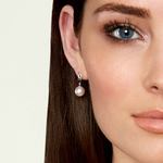 Freshwater Pearl & Diamond Symphony Earrings - Model Image